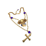 SALE Cobalt Blessing Necklace - Vintage Assemblage Neo-Victorian Cross - One of a Kind- InVint