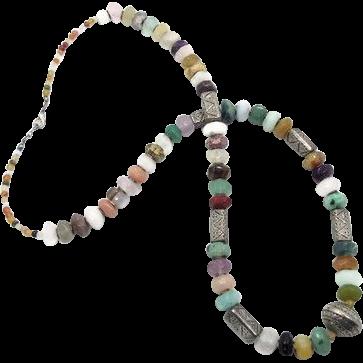 Stone Beaded Necklace - Quartz Amethyst Agate & Metal - Long Statement Necklace - Boho Ethnic Tribal - InVintageHeaven