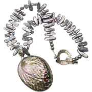 Pearl Shell Necklace, Abalone, Sterling Silver, Sea Shell Pendant, Big Statement, Iridescent,