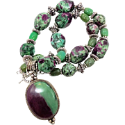 Ruby Zoisite Pendant, Beaded Necklace, Sterling Silver, Green Jade, Big Bohemian, Boho Stateme