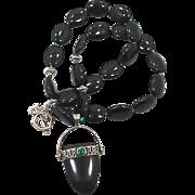 SALE Black Onyx & Green Malachite Beaded Necklace - Sterling Silver - Ethnic Unique - InVintag