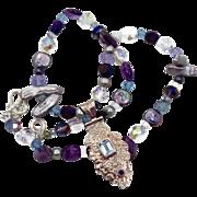 Blue Topaz, Amethyst Pendant, Sterling Silver, Beaded Necklace, Pearls, Big Bohemian, Boho Sta