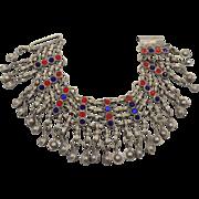 Gypsy Anklet, Bells Bracelet, Vintage Kuchi, Jewels, Silver Mesh, Belly Dance, Festival, Afgha
