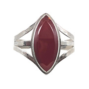 Gypsy Cuff Bracelet - Big Glass Carnelian - Vintage Boho - InVintageHeaven