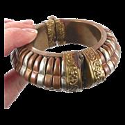 Vintage Mixed Metals Bracelet - Big Bangle - Wide Copper Brass - Ethnic Hippie Gypsy - Invinta
