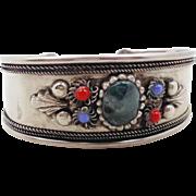 India Bracelet, Green Agate Stone, Vintage Cuff, Big Statement, Boho Bohemian, Blue Red, Silve