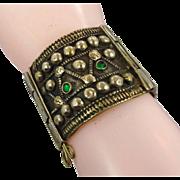 Gypsy Bracelet, Vintage Bracelet, Turkomen Tribal, Hinged, Jeweled, Wide Bracelet, Old Ethnic,
