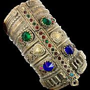 Wide Bracelet, Vintage Gypsy Kuchi, Old Jeweled, Silver Hinged, Ethnic Turkoman, Statement Bra