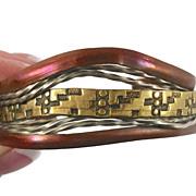 Mixed Metals Copper Brass & Silver Bracelet - Vintage Studio Unique - Unisex - InVintageHeaven