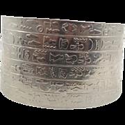 Ankh Egyptian, Silver Bracelet, Vintage Cuff, Hieroglyphics, Key Of Life, Symbols, Boho Statem