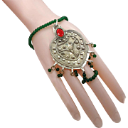 Afghan Slave Bracelet & Ring - Ethnic Tribal Beaded - Belly Dancing - InVintageHeaven