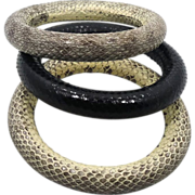 SALE PENDING Snake Bangle Bracelet Set - Vintage Fabulous Condition - InVintageHeaven