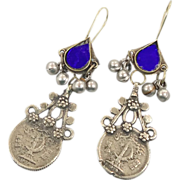 """Bell Coins & Mirrors Earrings - Vintage Kuchi Gypsy - Mixed Metals - 3"""" Long - InVintageH"""