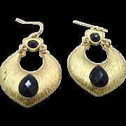 Big Gypsy Gold Metal Hoop Earrings - Vintage Boho Smoke Blue - InVintageHeaven