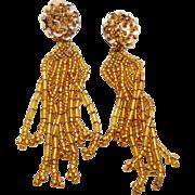 "Fun Gold Beaded & Sequin Vintage Earrings - Boho Gypsy - 3.5"" Long - InVintageHeaven"