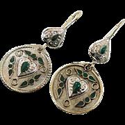 """Silver Earrings, Green Inlay, Vintage Earrings, 3"""" Long, Kuchi Boho Gypsy, Afghan Jewelry"""