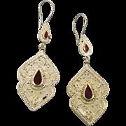 Gypsy Boho Earrings, Vintage Earrings, Kuchi, Kazakh Jewelry, Red Carnelian, Kazakhstan, Afgha