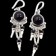 Peruvian Earrings, Gypsy Earrings, Silver Black, Vintage, Ethnic Jewelry, Boho, Long Dangles,