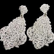 "Big Silver Filigree Earrings - Vintage Huge Boho Gypsy - 3.75"" Long - InVintageHeaven"