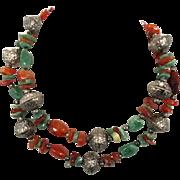Adventurine Beaded Necklace - Vintage Ethnic - Red & Green Stone - Boho ethnic tribal - InVint
