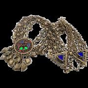 Afghan Necklace Belt, Vintage Necklace, Red Blue Green, Kuchi Jewelry, Gypsy, Boho Bohemian, B