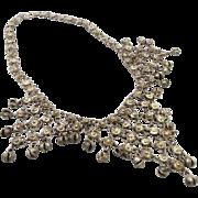 Chain Mail Silver Bells Bib Necklace - Vintage Big Belly Dance Statement - Chainmail - InVinta