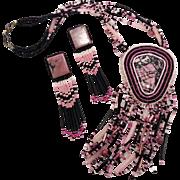 Rhodonite Necklace, Earring Set, Rose Quartz, Sterling Silver, Onyx, Gemstone Stone, Beaded Ne
