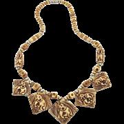 Elephant Beaded Necklace - Vintage Carved Bone - Ethnic Tribal - InVintageHeaven