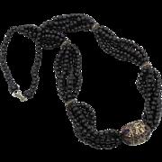 SALE Beaded Tribal necklace - Black glass, Afghan BIG Enamelled Bead - 1970s Boho hippie gypsy