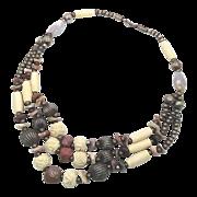 Beaded Stone Gypsy Boho Necklace - Vintage Big Statement - InVintageHeaven