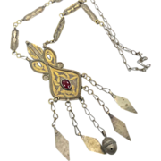 Ethnic Gypsy Gold Washed Necklace - Vintage Tribal Kuchi Afghan - InVintageHeaven