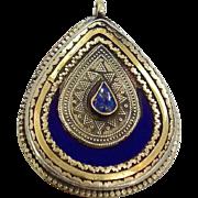 Blue Lapis, Gypsy Pendant, Kazakh Kuchi, Vintage Ethnic, Silver Gold, Afghan, Boho Bohemian, D