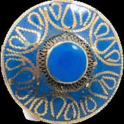 Big Kuchi Ring, Vintage Ring,Two Finger, Blue Enameled, Afghan Ethnic,Turkish Jewelry, Stateme