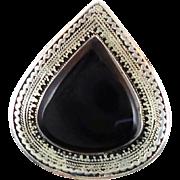 Black Kuchi Ring, Agate Aqeeq Stone, Gypsy, Kazakh, Vintage Ethnic, Silver, Afghan, Boho Bohem