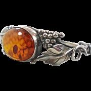 Amber Sterling Silver Bangle Cuff Bracelet - Vintage Grapes & Vines - InVintageHeaven