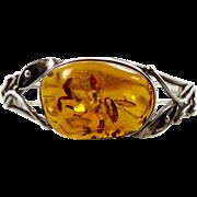 Amber Bracelet, Vintage Bracelet, Sterling Silver, Bangle Cuff, Calla Lily, Big Statement, Uni