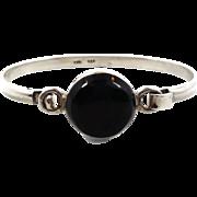 Black Onyx Bracelet, Hinged Bangle Cuff, Sterling Silver, Vintage Bracelet, Taxco Mexico, Stac