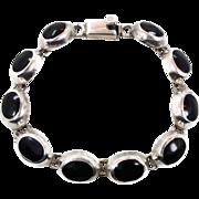Black Onyx Bracelet, Sterling Bracelet, Vintage Mexico Taxco, Links Linked, Heavy Silver, ...