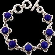 Lapis Bracelet, Sterling Bracelet, Vintage Jewelry, Links Linked, Station, Ethnic Boho, Bohemi