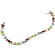 Gemstone Bracelet, Multi Stones, Peridot Citrine, Garnet Amethyst, Blue Topaz, Sterling Silver
