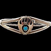 Bear Paw Bracelet, Shadowbox Cuff, Turquoise Bracelet, Sterling Silver, Small Wrist, Vintage B