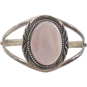 Pink Mother of Pearl Sterling Silver Cuff Bracelet - MOP Shell - Vintage Native American - InVintageHeaven