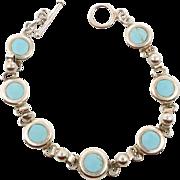 Turquoise Bracelet, Sterling Silver, 925 Bracelet, Links Linked, Vintage Bracelet, Pale Blue S