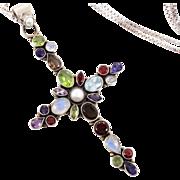 Gemstone Cross, Moonstone, Amethyst, Sterling Silver Chain, Vintage Pendant, Iolite Garnet, Pe