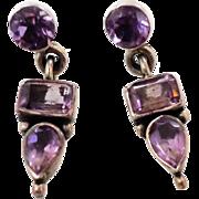 Amethyst Earrings, Sterling Silver, Vintage Earrings, Ethnic Tribal, Pierced Dangle, Multi Gem