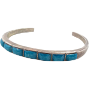 Turquoise Sterling Silver Cuff Bracelet - Vintage Native American - InVintageHeaven