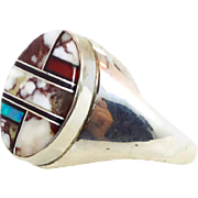 Native American Signed Sterling Silver Ring - Inlay White Buffalo Turquoise Opal Jet Coral - Vintage Unisex - Size 14 - InVintageHeaven