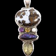 Gemstone Pendant, Citrine Amethyst, Sterling Silver, Jasper Agate, Vintage Pendant, Peacock Pe