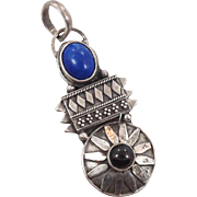 Blue Lapis Pendant, Tourmaline Stone, Vintage Pendant, Lapis Lazuli, Sterling Silver, Oxidized