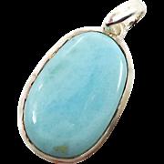 Larimar Pendant, Sterling Silver, Vintage Pendant, Big Stone, Blue Stone, Dolphin Stone, Boho